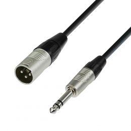 Adam Hall K4BMV0600 Cable de micrófono XLR macho a Jack estéreo de 6 m.