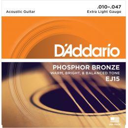 D'Addario EJ15 Phosphor Bronze Extra Light [10-47] Juego de cuerdas para guitarra acústica 10-47