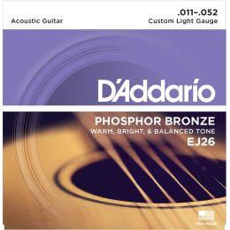 D'Addario EJ26  Phosphor Bronze Custom Light [11-52] Juego de cuerdas para guitarra acústica 11-52