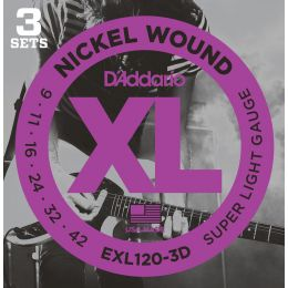 D'Addario EXL120 XL Super Light (pack 3 juegos)