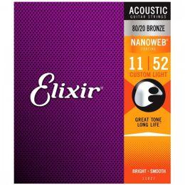 Elixir strings Nanoweb Custom Light Bronze 11-52 Juego de cuerdas para guitarra acústica
