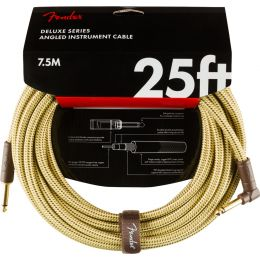 Fender Deluxe Series Straight/Angle 25' Tweed Cable para guitarra