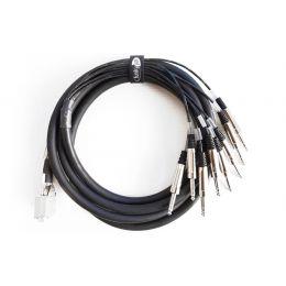 Funky Junk Cables Multipar 8 SubD25 - Jack Macho Deluxe 3 m Manguera analógica de 8 canales. SubD25 a 8 Jack Macho Deluxe de 3 metro