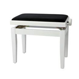 Gewa Banqueta de Piano Deluxe Blanco Brillante Banqueta para piano con tapizado negro